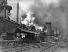 """Previous pinners comment: """"Exterior view of a Pittsburgh steel mill. My mother told me, as a young working woman, downtown Pgh looked like midnight at 12 noon. Pittsburgh Skyline, Pittsburgh Pa, Old Pictures, Old Photos, Iron Furnace, Pennsylvania History, Steel Mill, Industrial Photography, Best Places To Live"""
