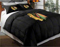 Chicago Blackhawks Comforter Set...need to find in a queen for the little guys room!