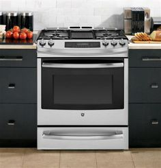GE PGS920SEFSS 30 Inch Slide-in Gas Range with 5.6 cu. ft. Convection Oven, 5 Sealed Burners with 55,100 Total BTU, 20,000 BTU Tri-Ring Burner, Precise Simmer Burner, Continuous Grates, Reversible Cast-Iron Grill/Griddle, Warming Drawer, Sabbath Mode and Self-Clean Mode