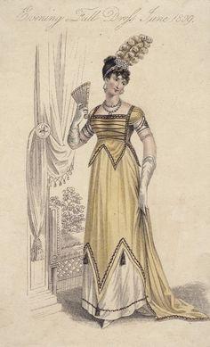 June evening full dress, 1809 England, La Belle Assemblée