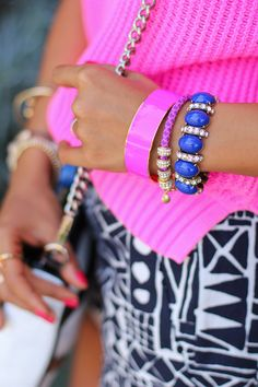 Neon Pink & Royal Blue arm candy