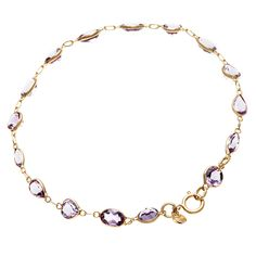 14k Yellow Gold Amethyst Bracelet - Overstock™ Shopping - Top Rated Gemstone Bracelets