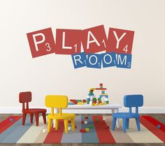 Scrabble Decal Play Room Childrens Wall Decal Vinyl Wall Quote Kids Play Room Decal Vinyl Lettering Playroom Decor