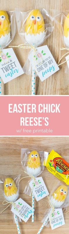 Easter chick treats -the most adorable candy chicks made from a Reese's egg! These are soeasy to make and the kids will lovehelping makethese cuties.