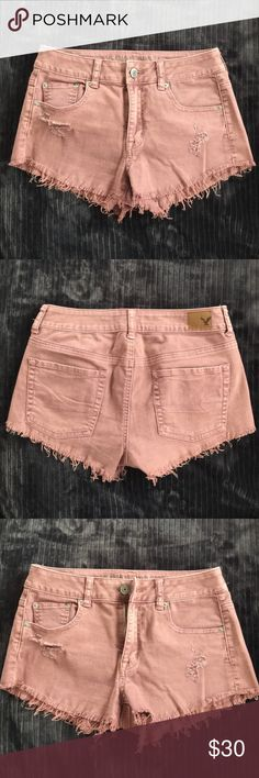 AE Stretch Distressed Shorts Love this BLUSH color, bought for the summer cut off tags but never worn. This style is made to stretch at the waist. The material 98% Cotton 2% Spandex. American Eagle Outfitters Shorts Jean Shorts