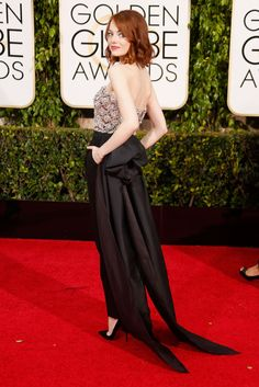 Back view of Emma Stone in Lanvin at the 2015 Golden Globe Awards.