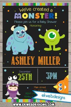 Printable Custom Monster Inc. Baby Shower Invitations