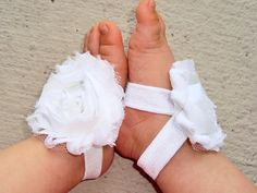 Baby Barefoot Sandals - White Piggy Petals - Toe Blooms - Photo Props - Toddler Shoes - Baptism - Flower Girls - Baby Shoes - Newborn Shoes