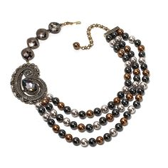 "Heidi Daus ""Dynamic Dazzler"" Multi-Strand Beaded Crystal Station Necklace"