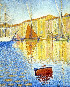 Bouée rouge (également connu sous le nom du port de Saint-Tropez), huile sur toile de Paul Signac (1863-1935, France)
