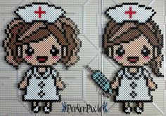 Nurses perler beads by PerlerPixie Perler Beads, Hama Beads Kawaii, Pearler Bead Patterns, Perler Patterns, Motifs Perler, Hama Beads Design, Fusion Beads, Iron Beads, Melting Beads