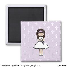 Smiley little girl first holy communion magnet - Primera Comunion Latina Girls, Books For Boys, First Holy Communion, Book Activities, Little Gifts, Smiley, Special Day, Holi, Compliments