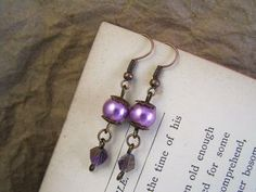 Purple pearl and crystal earrings. Vintage style handmade jewelry by TheAmethystDragonfly