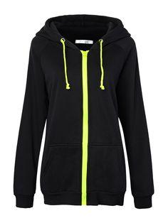Sale 20% (28.89$) - Women Zipper Solid Drawstring Long Sleeve Hooded Sweatshirt