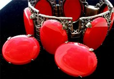 Vintage Red Rhinestone Bracelet Earrings Wide Demi Set Glass Cabochons Runway #Unbranded