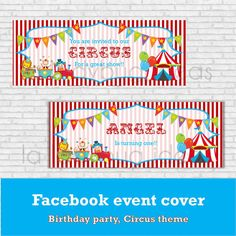 Circus Birthday invitation, Facebook cover , Circus theme party invitation, birthday party for Facebook, Birthday boy, Birthday girl.  Do you want to create a Facebook Event for a Birthday Party?? Get this cute Facebook cover to match with your party theme!!  This listing is for the digital files only. You can choose between two options: - Circus legend only (shown in first picture,above) - Personalized name (shown in first picture, below)  All wording is customized. If you would like to…