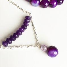 Silver Purple Jewelry Set - Purple Agate Amethyst Necklace &...