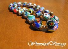 Vintage Cobalt Multi Millefiori Glass Bead Necklace from WhimsicalVintage on Ruby Lane