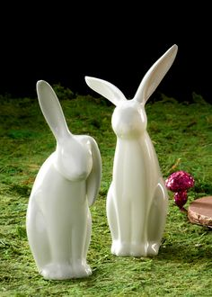 White Porcelain Rabbits: Add a whimsical touch to your Easter decor with these bunnies.