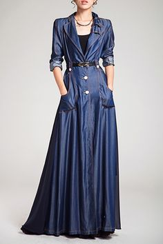 Denim Spliced Long Sleeve Maxi Trench Coat
