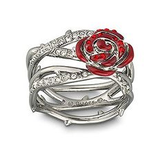 Swarovski Thorn & Rose Ring reflects the dark side of the fairytale Sleeping Beauty. Inspired by the Disney film, the unique design features thorns and roses embellished with Light Siam and clear crystal pavé and red epoxy. Jewelry Box, Jewelery, Jewelry Accessories, Rose Jewelry, Swarovski Ring, Swarovski Crystals, The Bling Ring, Bling Bling, Disney Jewelry