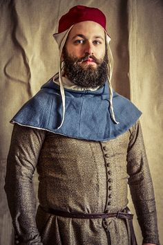 Young bearded man with a hat, apothecary of Diotaiuti, Imola, Italy, mid-14th century, Historical reenactment