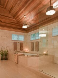 Love the cream stone tile with the cedar ceiling and the glass and soft lighting. Really high-end, spa feeling to it. Could be adaptable.