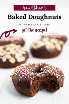 These vegan baked donuts with chocolate glaze have under 200 calories per donut, are low in fat, and made with all plant-based ingredients. #vegandonuts #bakeddonuts Baked Donuts, Doughnuts, Chocolate Glaze, 200 Calories, Easter Brunch, Vegan Baking, Easter Recipes, Plant Based, Fat