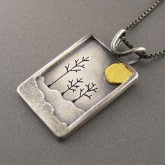 Solstice 24K Yellow Gold and Sterling Silver Pendant