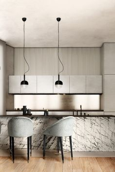 This kitchen has the MALAY Counter Stool and NIKU Pendant Light.