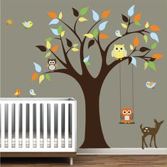 Nursery Wall Decals Tree Stickers with Animals Owls Wall Decal Tree Decal Nursery, Baby Wall Decals, Tree Decals, Vinyl Wall Decals, Wall Stickers, Aqua Nursery, Girl Nursery, Nursery Art, Nursery Ideas