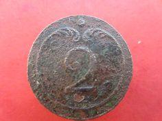 Bouton plat 2° rgt d'infanterie de ligne -  1° Empire -  button