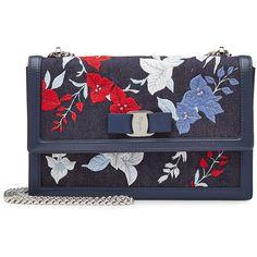 Salvatore Ferragamo Ginny Embroidered Denim Shoulder Bag ($1,140) ❤ liked on Polyvore featuring bags, handbags, shoulder bags, blue, blue handbags, blue purse, embroidery handbags, shoulder handbags and salvatore ferragamo purse
