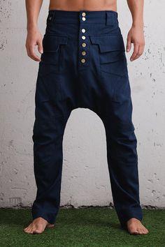 Elegantes schmales Bein Schritt Harem Hosen runter / drop Crotch-Jeans Männer / slim Leg Drop Crotch Hose / niedrige Schrittgurt Hosen Frauen / blau schwarze Farbe