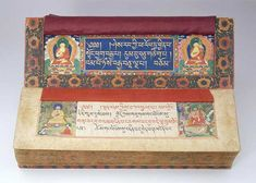 """""""The Tibetan Sutra of the Perfection of Wisdom (Prajñaparamita Sutra) in 100,000 Verses."""" This illuminated manuscript in Tibetan is one of twelve volumes of a major Mahayana Buddhist scripture known as the Prajñaparamita Sutra in 100,000 verses. Introduced into Tibet from India around 750 A.D"""