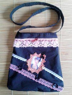 Vintage tote bag black tote bag bolso para por ShabbyChicVintageBag