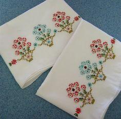 Vintage linen pillowcases embr