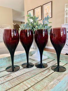 Set of Four Mikasa Elegance Elegant Plum Water Goblet or Large Wine Glasses Amethyst Purple Plum TYCAALAK