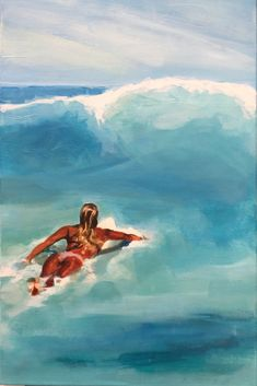 Artist - Te Moana. Blue Water 3 - 40cm (W) x 60cm (H) Acrylic painting of a surfer girl paddling out through turquoise water