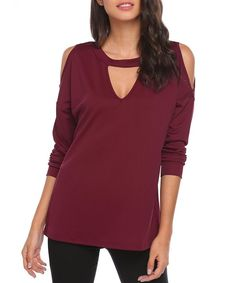 Women's Cold Shoulder Long Sleeve Shirt Choker V Neck Casual Tops S-XL - Wine Red - Clothing, Sweaters, Pullovers Long Sleeve Shirts, Long Sleeve Tops, Casual Tops, Long Blouse, Sweater Fashion, Tunic Tops, Sweaters For Women, Cold Shoulder, Clothes For Women