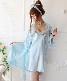 Elegant Style Flower Embellished Sleepwear Sky Blue $10.00