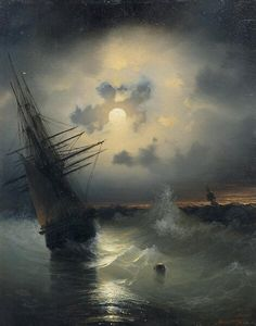 chanson de geste — A sailing ship on a high sea. Ship Paintings, Old Paintings, Seascape Paintings, Landscape Paintings, Famous Art, Russian Art, Ship Art, Sailing Ships, Moonlight