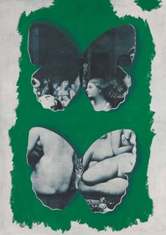 Jiří Kolář, Bez názvu (Motýli, Ingers), (1965/1985), antikoláž, fotoplátno, lepenka, 147x101,7 cm, získáno / acquired 2009, O 2594