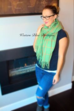 No Regrets Plaid Scarf - Green