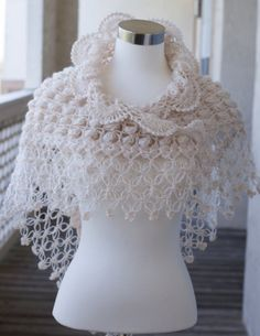 Cream Mohair Shawl / Bridal Accessories / Bridal Bolero / Shrug