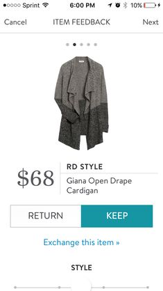 Received in Fix #36. Love the cozy drape cardigan. Very soft and no wool which I can't wear. Look forward to wearing this with boots and leggings this fall. KEPT. Price $68, with keep all discount $51