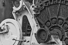 A photograph of and old black and white rusted machine in black and white. To purchase please go tohttp://memoriesoflove.imagekind.com