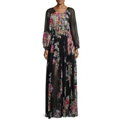 Zuhair Murad Floral Silk Maxi Dress ($3,360) ❤ liked on Polyvore featuring dresses, apparel & accessories, black multi, long-sleeve maxi dress, keyhole dress, long sleeve dress, maxi dresses and silk maxi dress