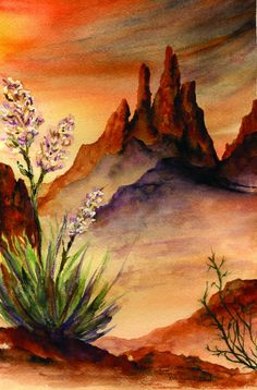 Are you a beginner and want some good idea for painting with watercolor? Here we have some Easy Watercolor Paintings For Beginners Watercolor Paintings For Beginners, Art Watercolor, Watercolor Sunset, Beginner Painting, Watercolor Landscape, Simple Watercolor, Image Desert, Desert Art, Desert Sunset