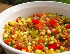 Wonderfully full-flavored but not too fussy this updated version of Fried Corn is good hot or at room temperature. My Own Sweet Thyme: Pan Roasted Corn and Tomato Salad